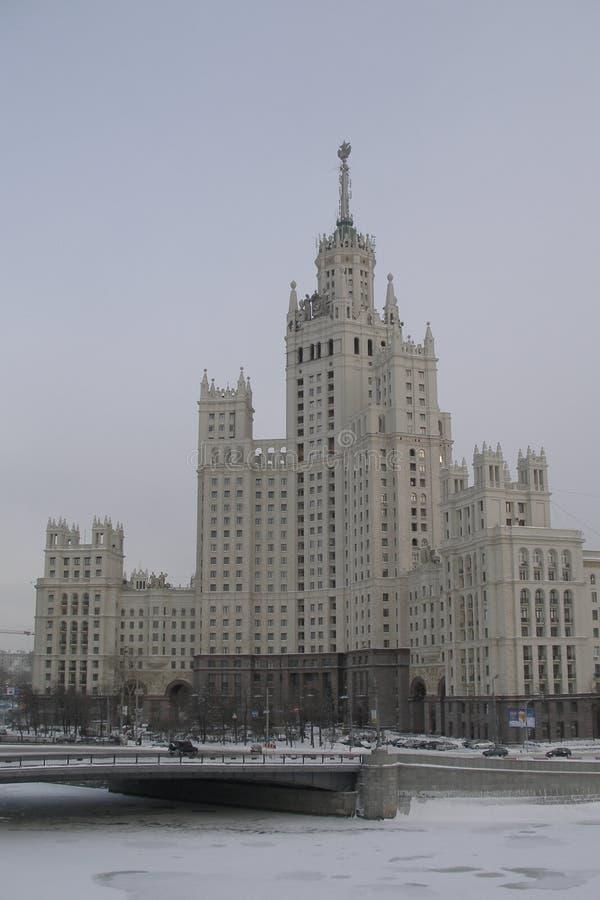 Budynek mieszkaniowy na Kotelnicheskaya Naberezhnaya w Moskwa fotografia stock