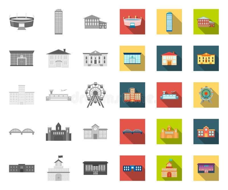 Budynek naprawa mono, płaskie ikony w ustalonej kolekcji dla projekta Materia?u budowlanego i narz?dzi symbolu zapasu wektorowa s royalty ilustracja