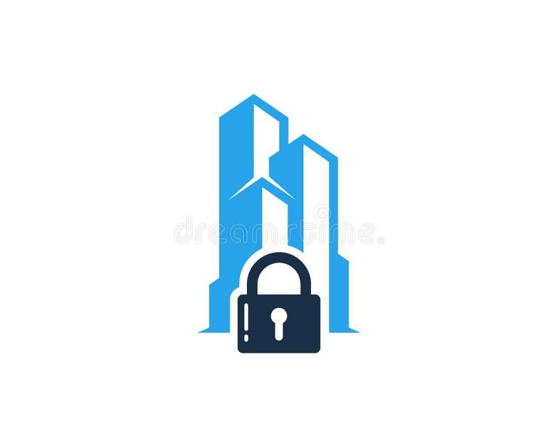 Budynek ochrony ikony loga projekta Biurowy element ilustracja wektor