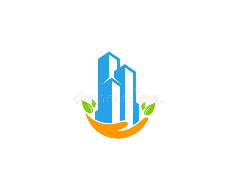 Budynek opieki ikony loga projekta Biurowy element royalty ilustracja
