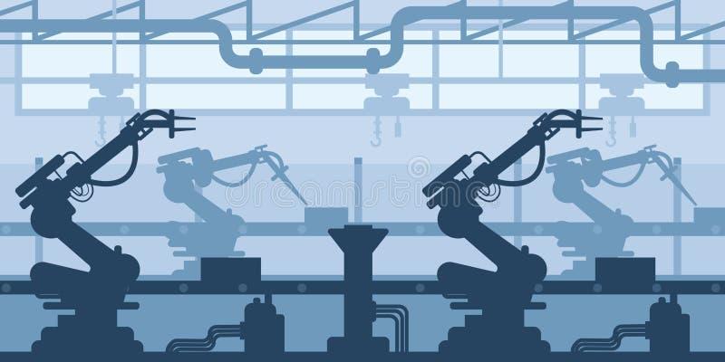 Budynek roślina, fabryczna sylwetka, wnętrze przedsięwzięcie scena, przemysłowy przemysł royalty ilustracja