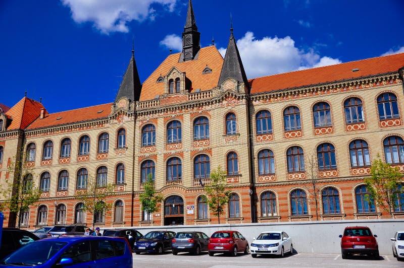 Budynek stan konstruuje szkoły średniej Fajnorovo nà ¡ breÅ ¾ ie, Bratislava, Sistani obrazy royalty free
