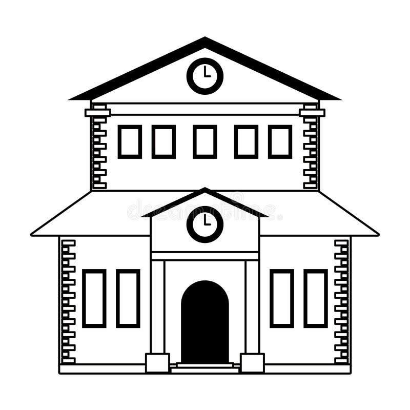 Budynek szkoły architektury odosobniony symbol w czarny i biały royalty ilustracja