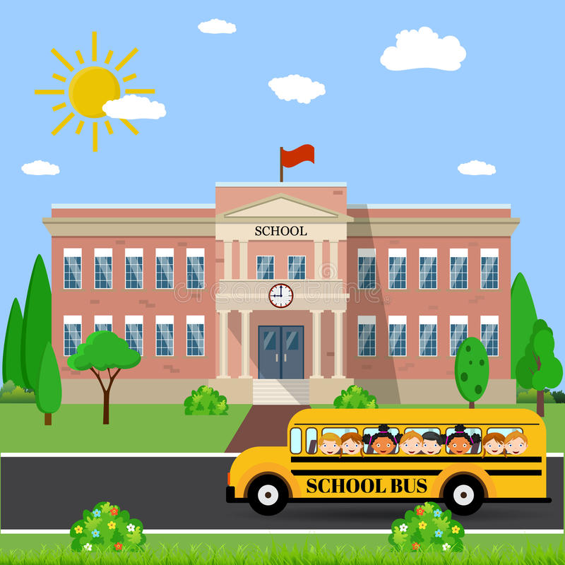 Budynek szkoły i autobus ilustracji