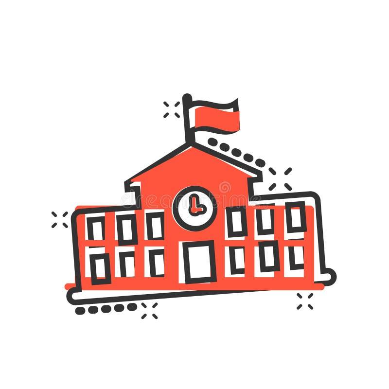 Budynek szkoły ikona w komiczka stylu Szkoły wyższej edukacji kreskówki ilustracji wektorowy piktogram Bank, rządowy biznesowy po ilustracji
