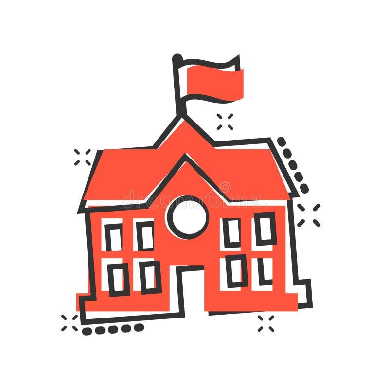 Budynek szkoły ikona w komiczka stylu Szkoły wyższej edukacji kreskówki ilustracji wektorowy piktogram Bank, rządowy biznesowy po royalty ilustracja