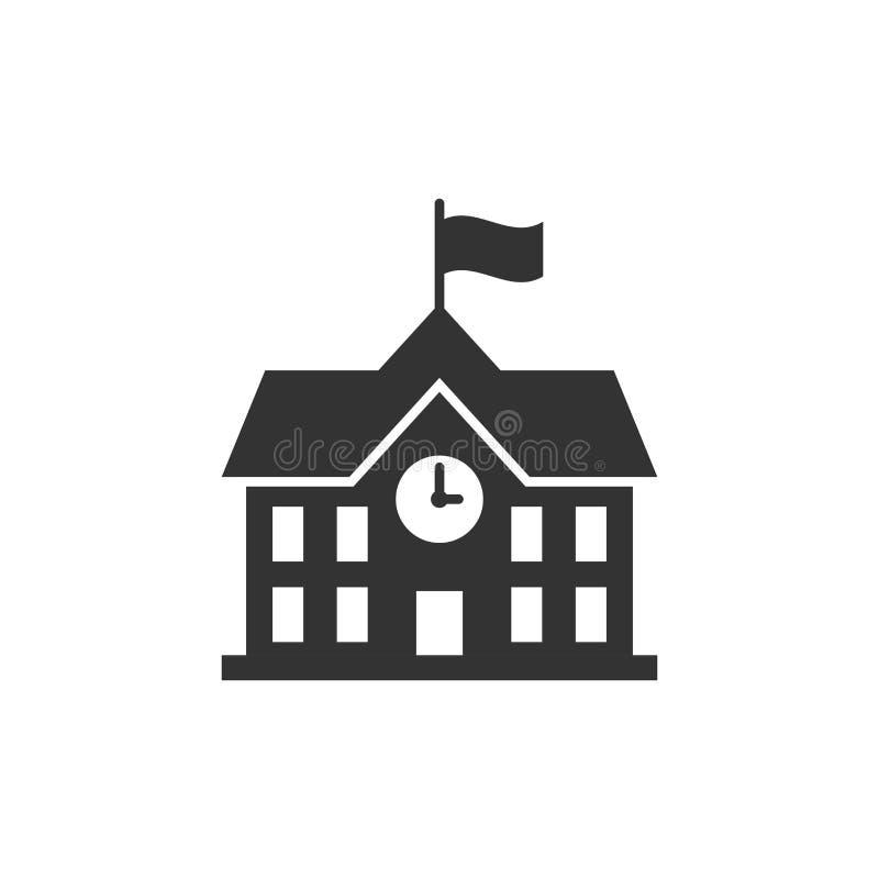 Budynek szkoły ikona w mieszkanie stylu Szkoły wyższa edukaci wektoru bolączka ilustracja wektor