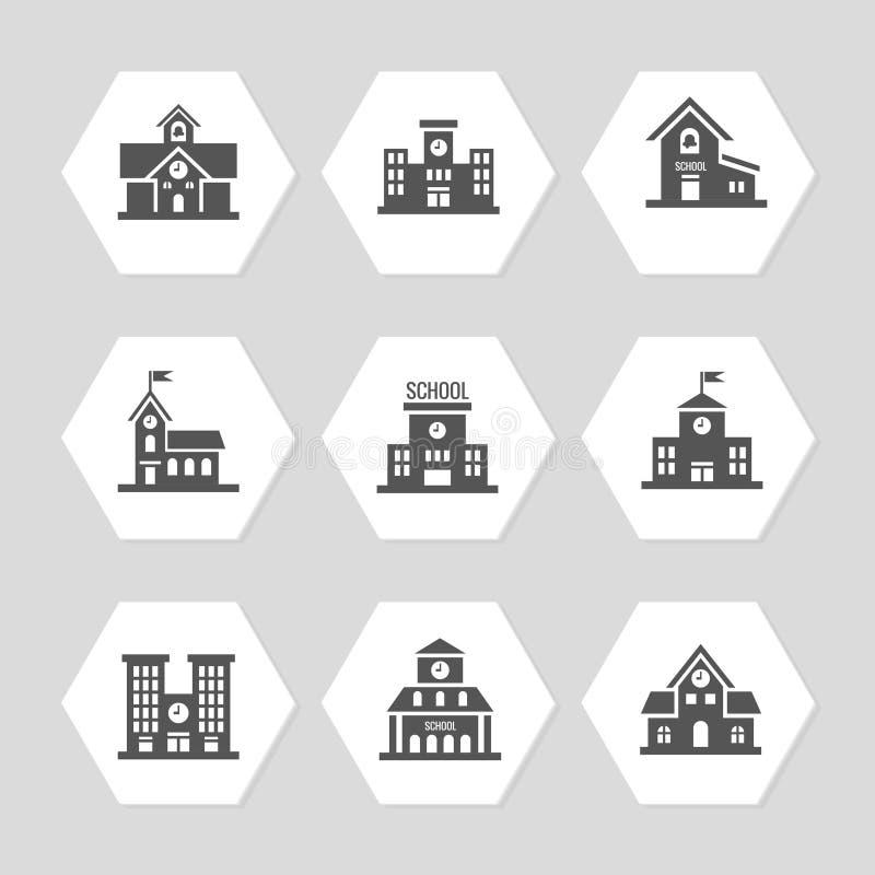 Budynek szkoły płaskie ikony inkasowe ilustracja wektor