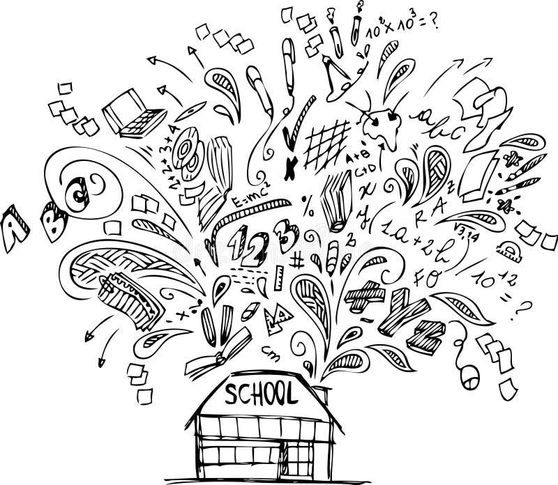 Budynek szkoły z doodles ilustracji