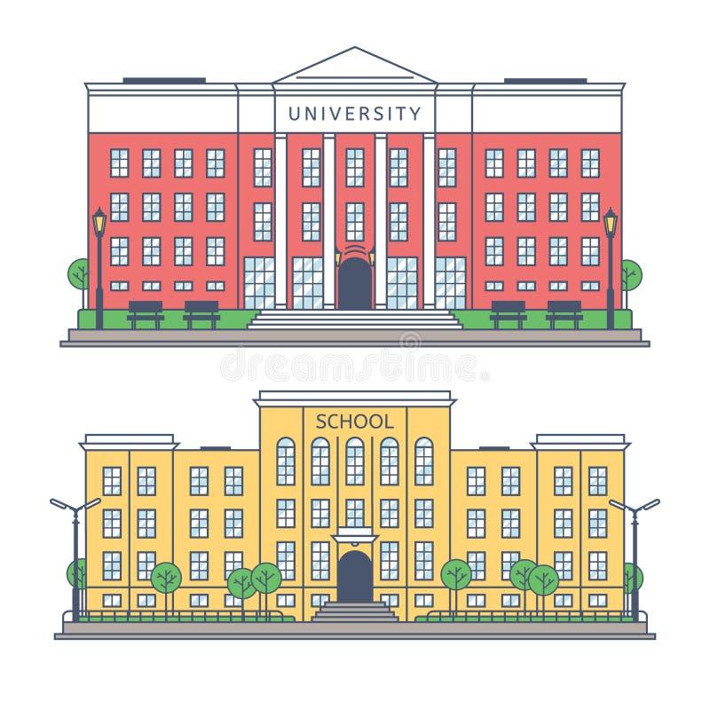 Budynek uniwersytet i szkoła ilustracji