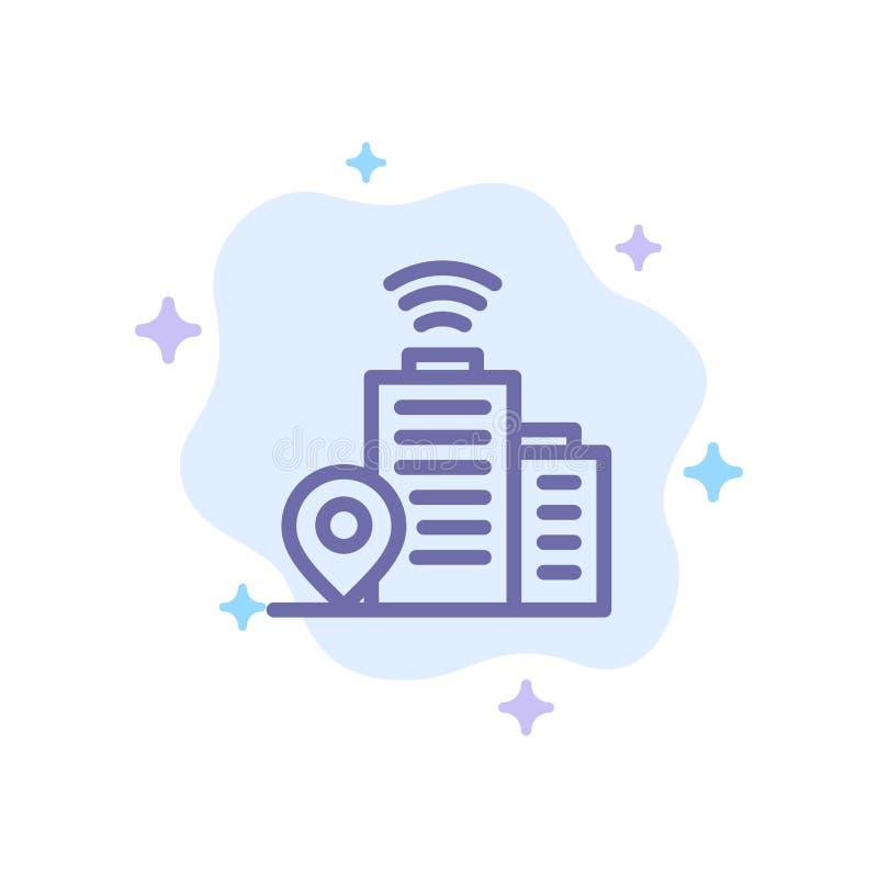 Budynek, Wifi, lokacji Błękitna ikona na abstrakt chmury tle royalty ilustracja