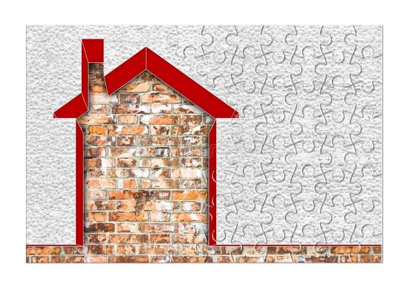 Budynek wydajności energii pojęcia wizerunek pojęcie w wyrzynarki łamigłówce - 3D odpłaca się do domu thermally izolujący z polis obrazy stock