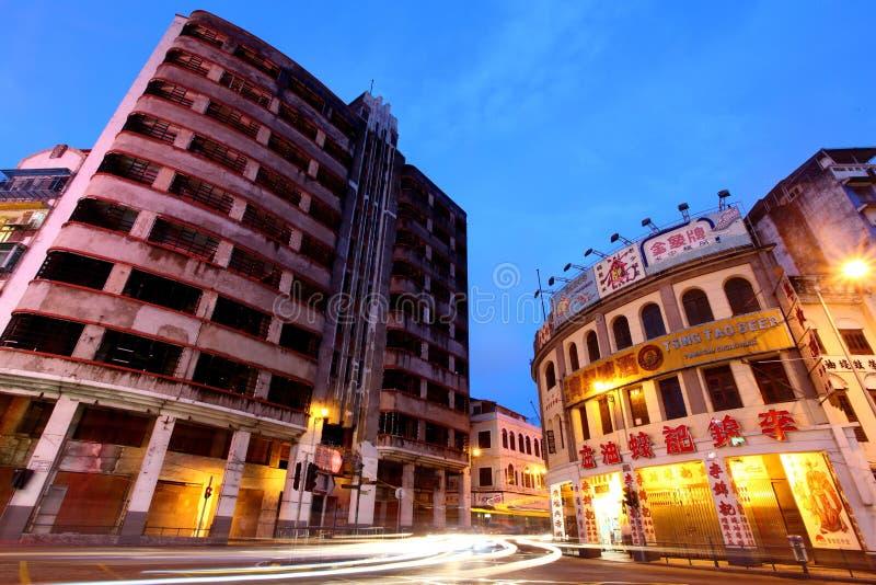 budynków Macau noc stary widok fotografia royalty free