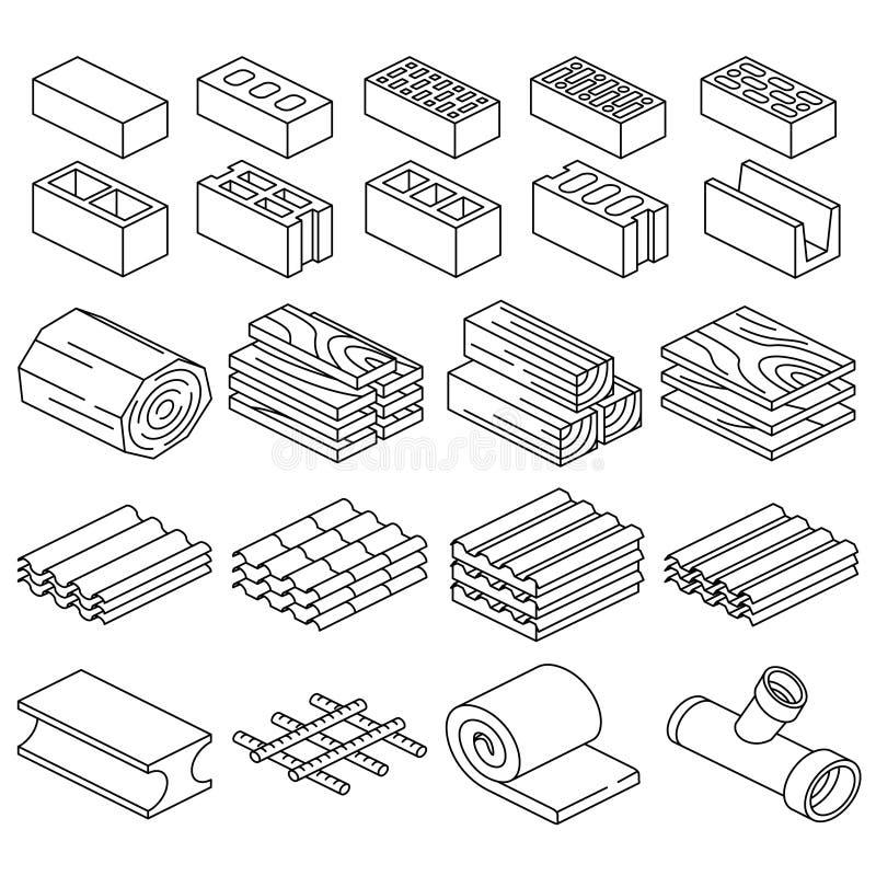 Budynków materiały budowlani 3d isometric ikony ilustracja wektor