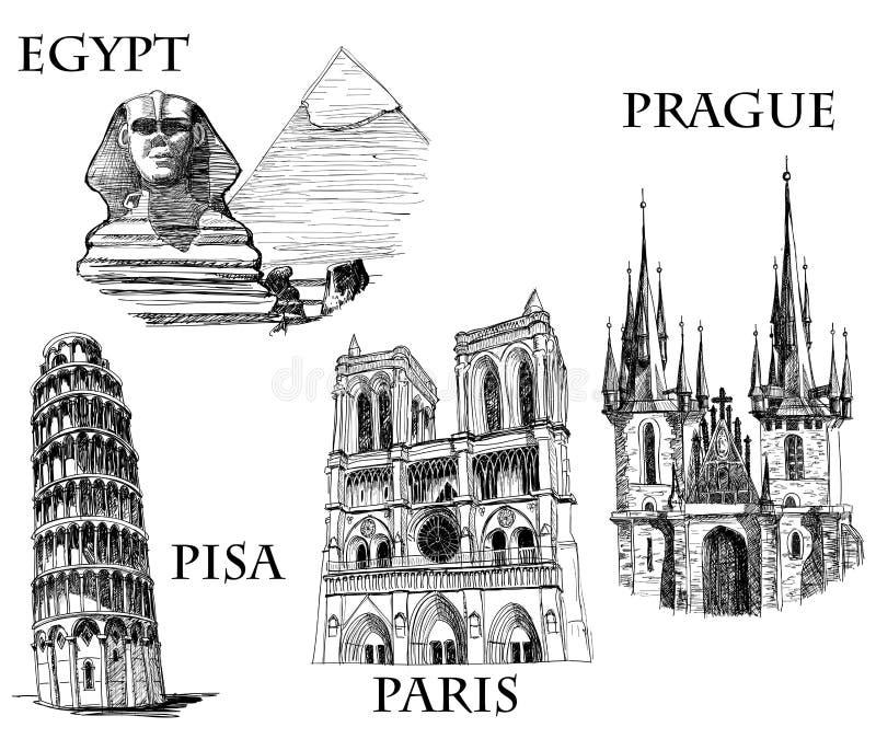 budynków miasta sławni symbole ilustracji