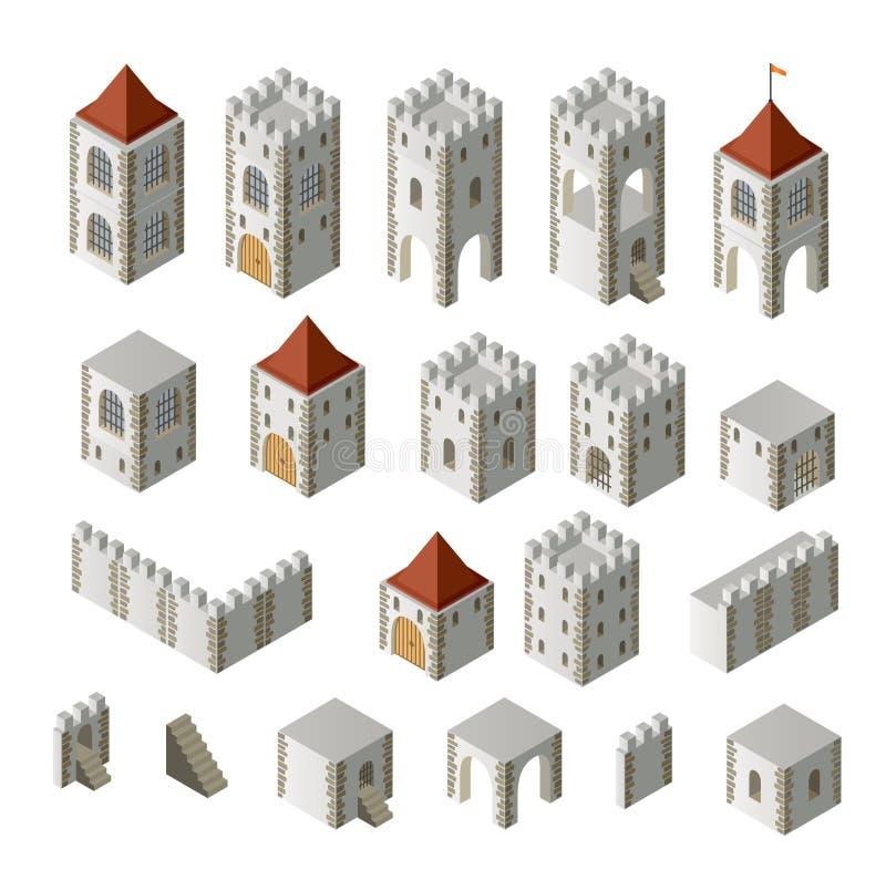 budynki średniowieczni ilustracja wektor