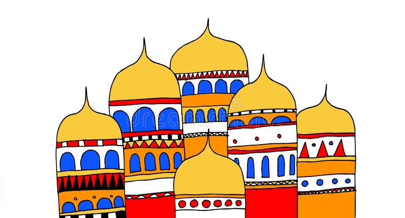 Budynki antyczny miasto Rosyjski imperium royalty ilustracja
