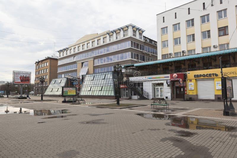 Budynki biurowi na Blagoveshchenskaya ulicie w mieście Vol obraz stock