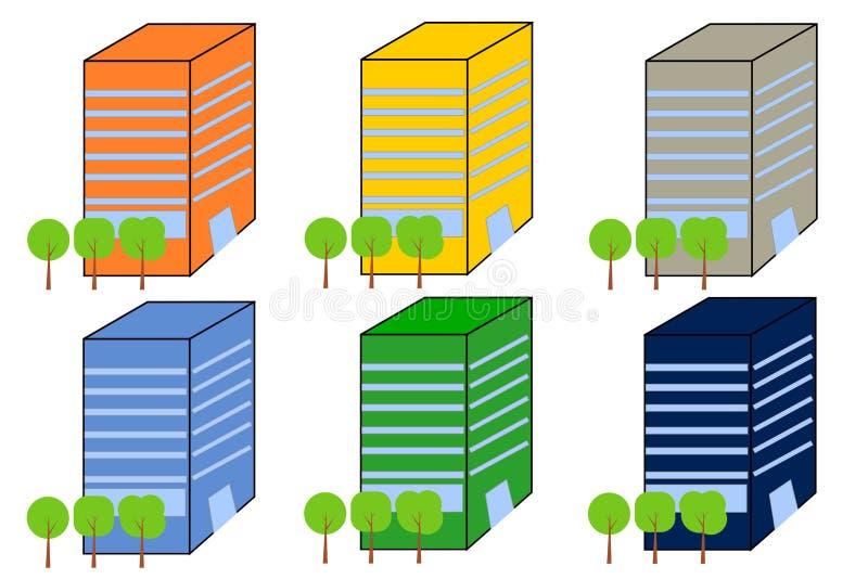 Budynki Biurowi w różnych kolor różnicach royalty ilustracja