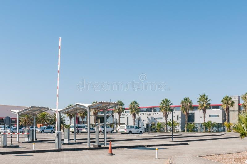 Budynki lotnisko międzynarodowe przy Walvis zatoką obraz stock