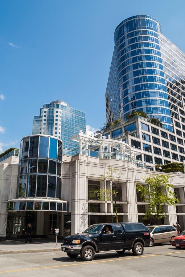 Budynki między Zachodnim Cordova St. i Zachodnią nabrzeże drogą, Vancouver zdjęcie stock