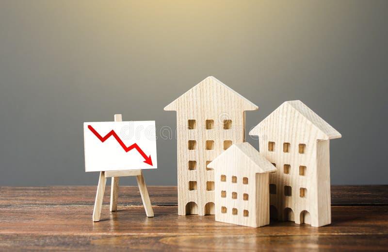 Budynki mieszkalne drewniane i sztaluga z czerwoną strzałką w dół Spadek rynku nieruchomości Zmniejszenie kosztów ewidencji fotografia stock