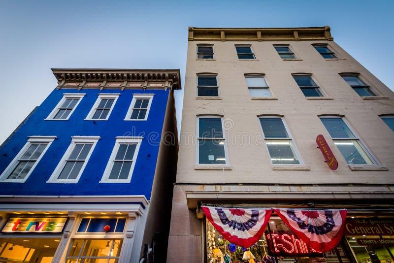 Budynki na głównej ulicie, w w centrum Annapolis, Maryland obrazy royalty free