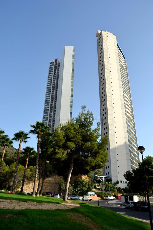 Budynki, plaża Benidorm w Alicante, śródziemnomorska część Hiszpanii obraz royalty free