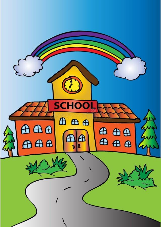 Budynki szkoły z tęczą ilustracja wektor