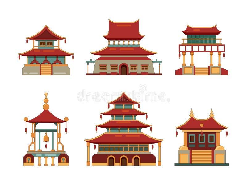 budynki tradycyjni Japonia i porcelanowej kulturalnej przedmiot architektury bramy pałac dziedzictwa wektoru pagodowa kolekcja royalty ilustracja