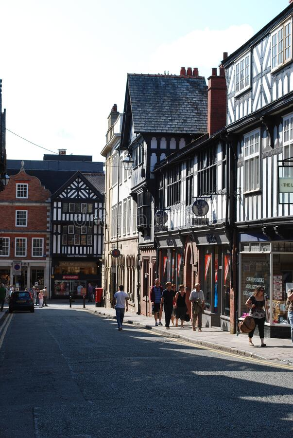 Budynki Tudor w Chester, Wielka Brytania fotografia royalty free