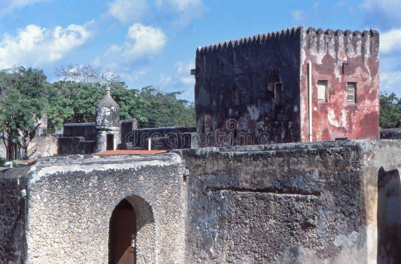 Budynki w środku, Fort Jezus, Mombasa, Kenia obrazy stock