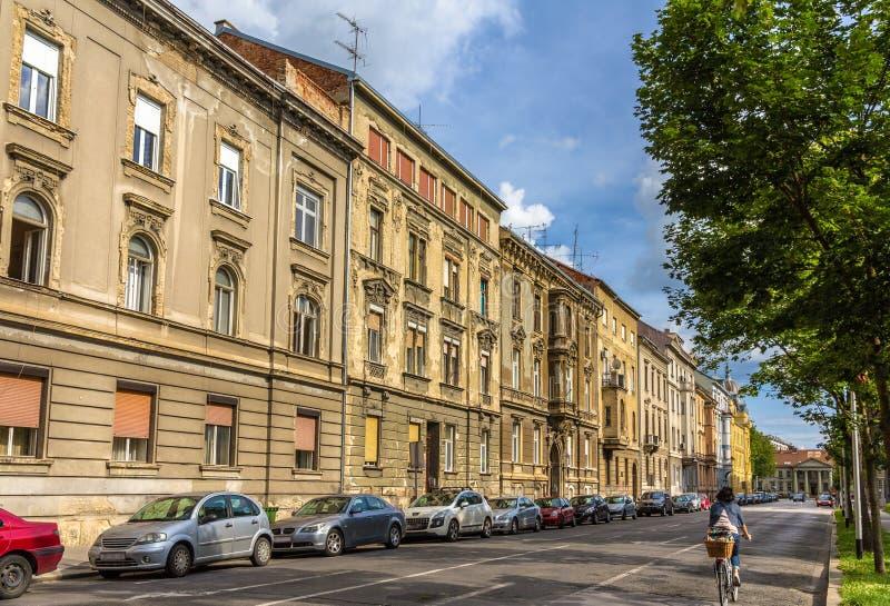 Budynki w centrum miasta Zagreb zdjęcie stock