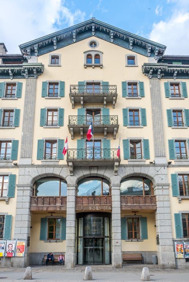 Budynki w Chamonix Mont Blanc mieście w Francja zdjęcie royalty free