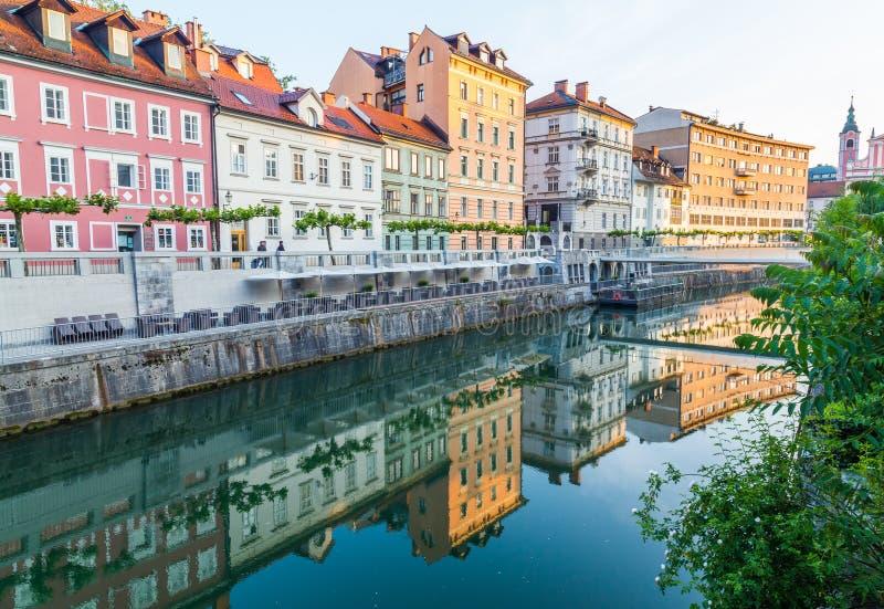 Budynki w Ljubljana w ranku obraz royalty free