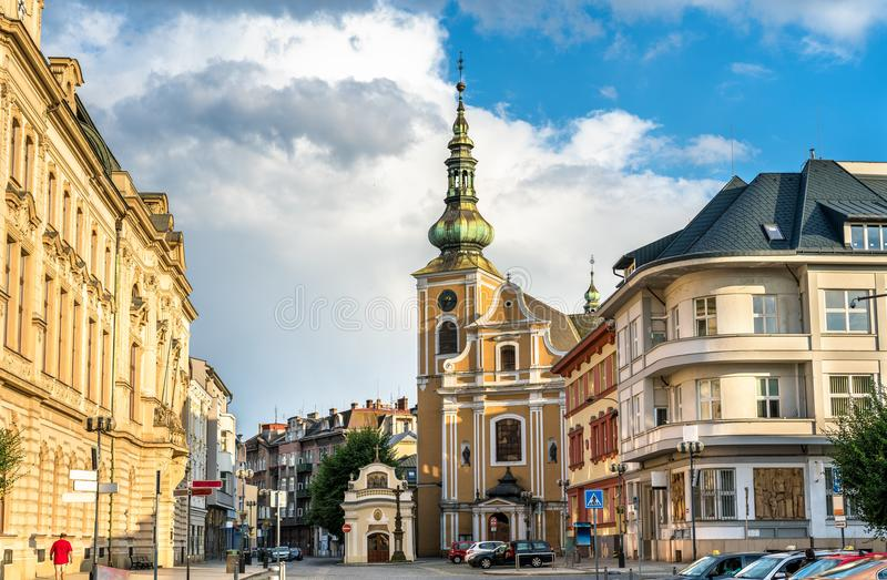 Budynki w starym miasteczku Prerov, republika czech zdjęcia royalty free