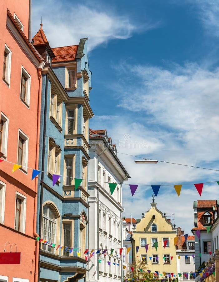 Budynki w Starym miasteczku Regensburg, Niemcy zdjęcia stock