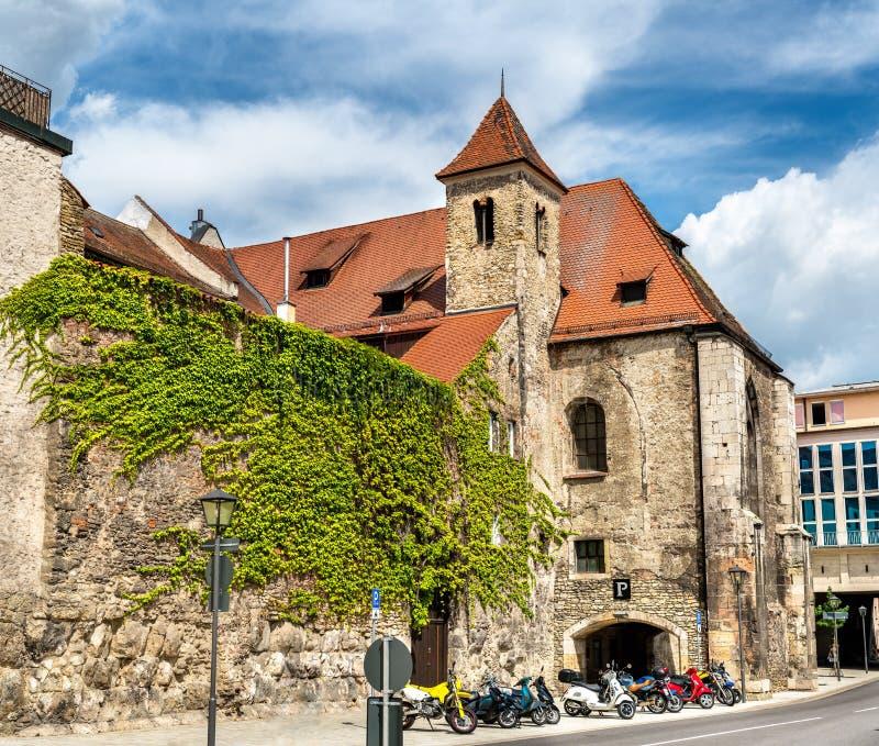 Budynki w Starym miasteczku Regensburg, Niemcy zdjęcia royalty free