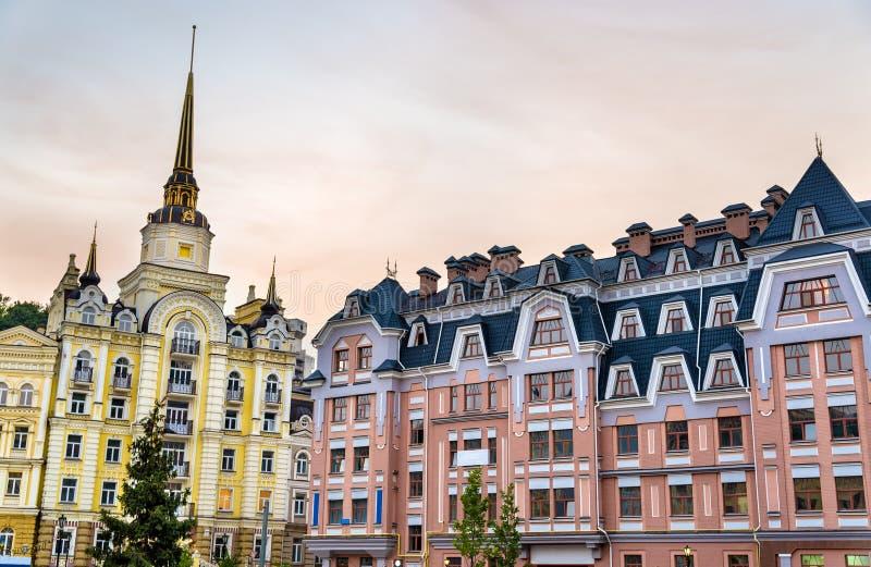 Budynki w Vozdvizhenka okręgu Kyiv obraz royalty free