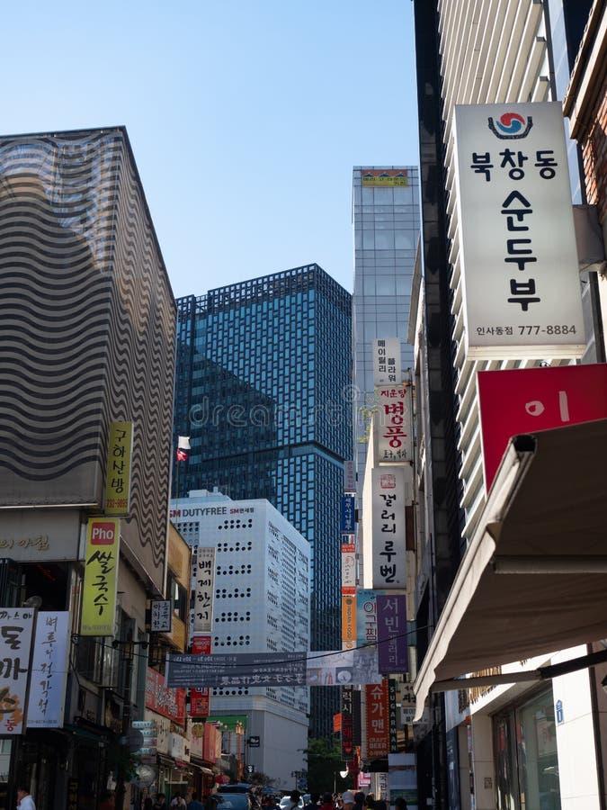 Budynki z Podpisują wewnątrz Insadong w Seul korei południowej zdjęcie royalty free