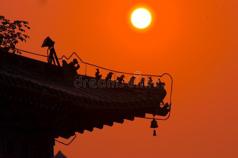 budynku chińczyka zmierzch obraz stock