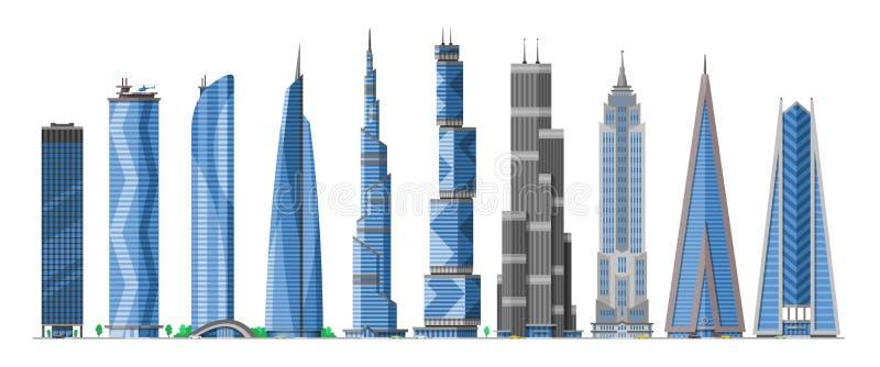 Budynku drapacz chmur w pejzażu miejskiego miasta wektorowej linii horyzontu i biznesowym officebuilding handlowa firma i budowa royalty ilustracja