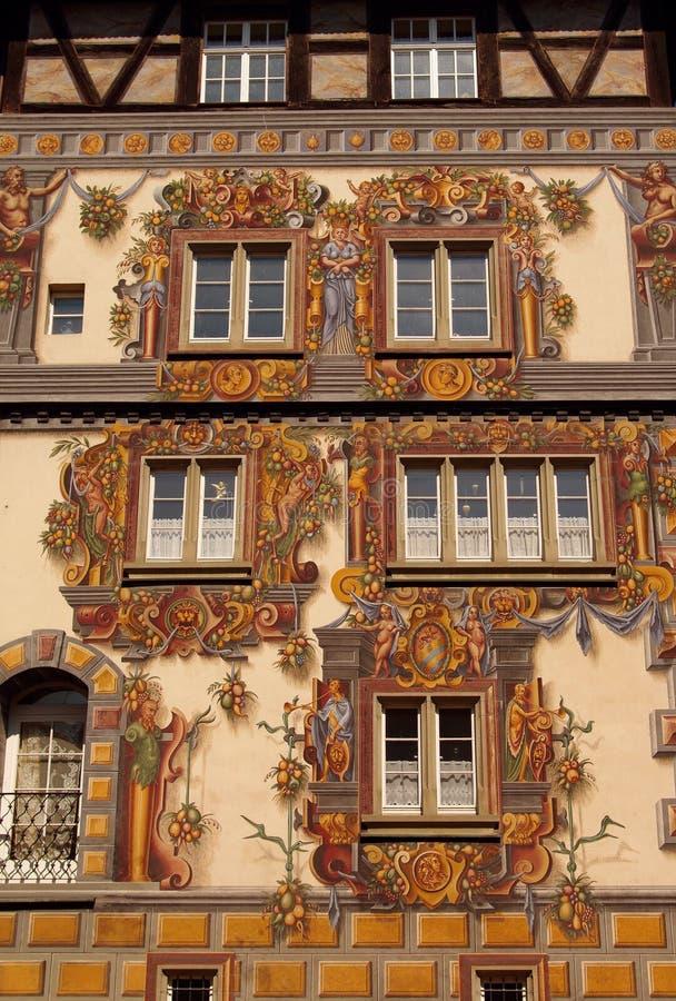 budynku fasadowy Konstanz średniowieczny malujący zdjęcie royalty free
