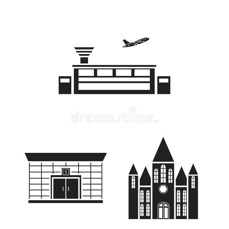 Budynku i architektury czarne ikony w ustalonej kolekci dla projekta Budowy i instytuci symbolu zapasu wektorowa sieć ilustracja wektor