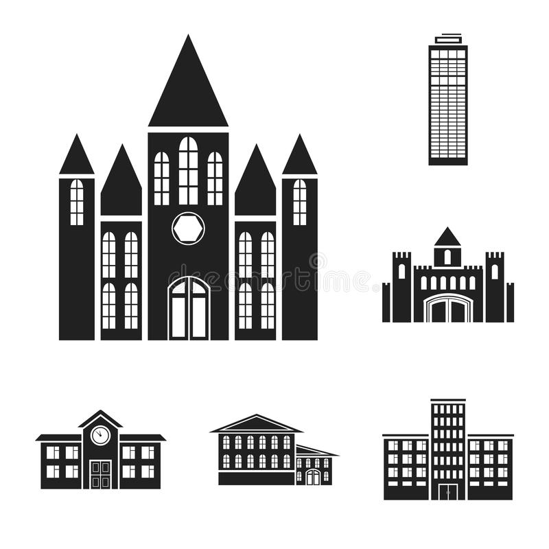 Budynku i architektury czarne ikony w ustalonej kolekci dla projekta Budowy i instytuci symbolu zapasu wektorowa sieć ilustracji