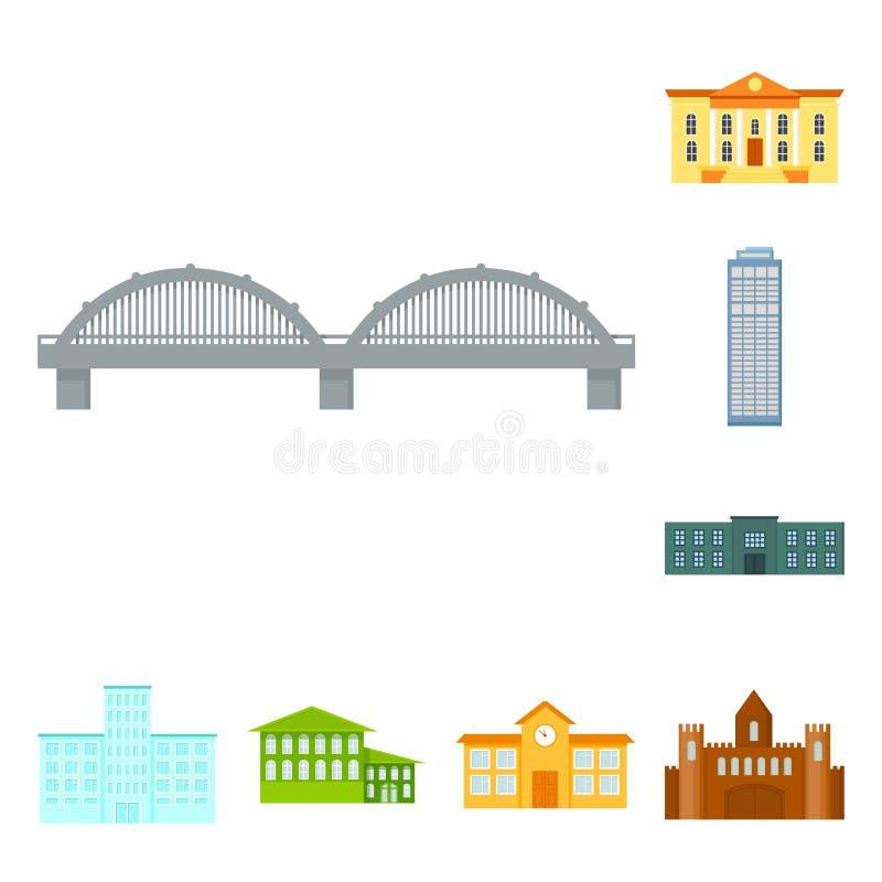 Budynku i architektury kreskówki ikony w ustalonej kolekci dla projekta Budowy i instytuci symbolu wektorowy zapas ilustracji