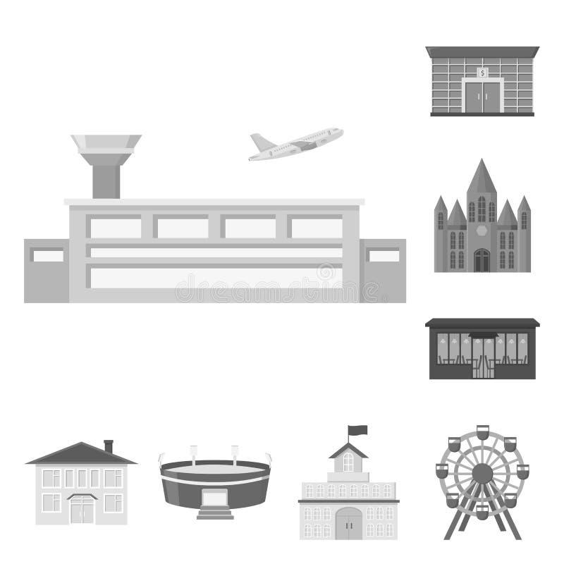 Budynku i architektury monochromatyczne ikony w ustalonej kolekci dla projekta Budowy i instytuci wektoru symbol royalty ilustracja
