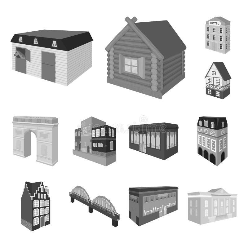 Budynku i architektury monochromatyczne ikony w ustalonej kolekci dla projekta Budynku i mieszkania wektor isometric royalty ilustracja