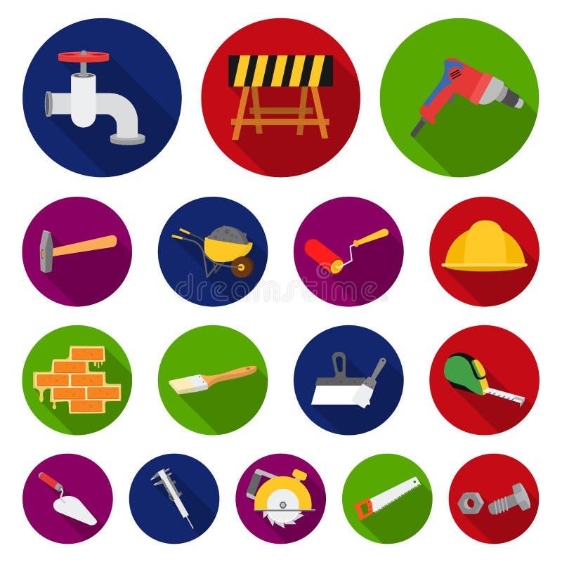 Budynku i architektury płaskie ikony w ustalonej kolekci dla projekta Budowy i instytuci symbolu zapasu wektorowa sieć ilustracji