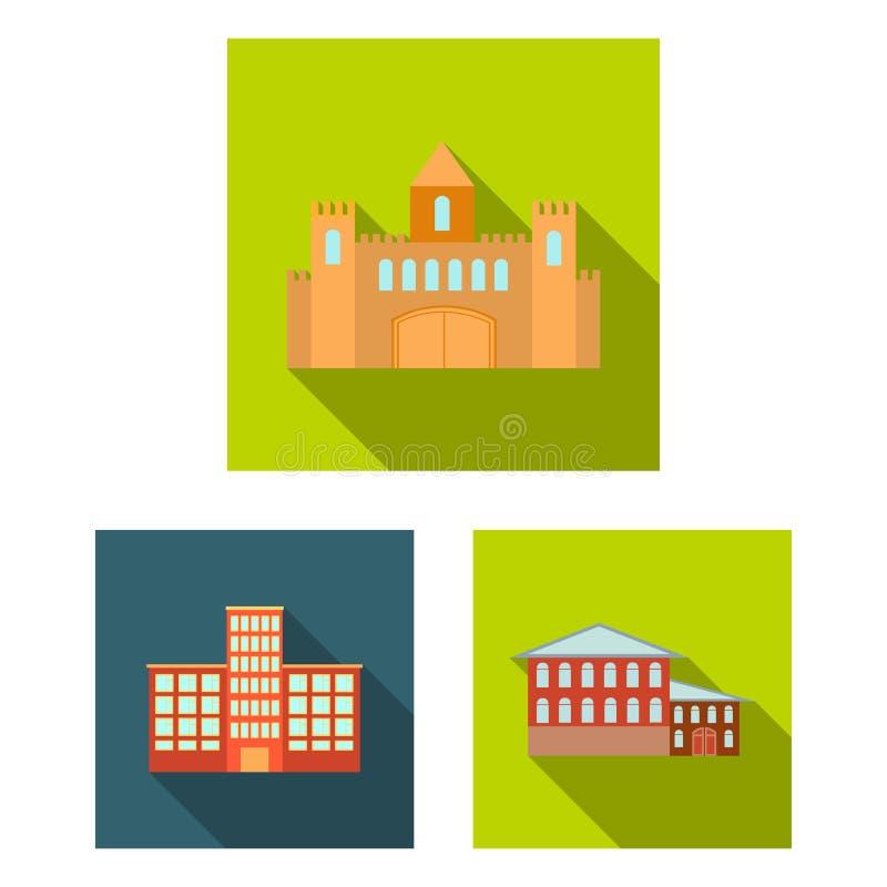 Budynku i architektury płaskie ikony w ustalonej kolekci dla projekta Budowy i instytuci symbolu zapasu wektorowa sieć royalty ilustracja